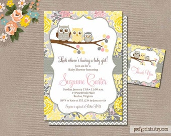 Printable designs personalized for your party by poofyprints baby girl owl shower invitation printable owl baby shower invitation digital invitation free favor tags yellow gray pink suzanne filmwisefo