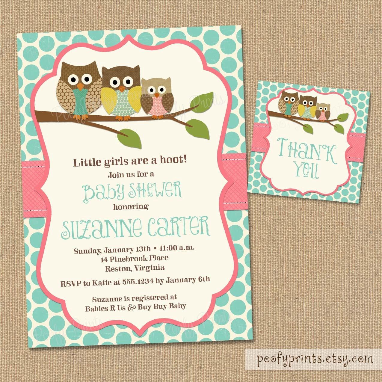 Owl Baby Shower Invitations DIY Printable Baby Girl Shower