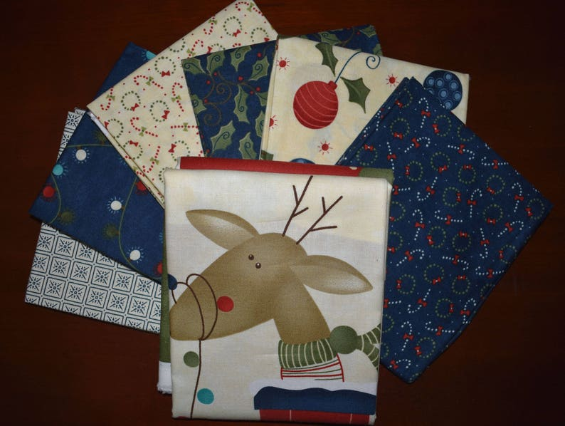 Reindeer Games Panel Plus 6 Blue and Cream Fat Quarters by Sady Gervais for Moda LAST ONE