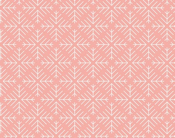 Curiosities Caught Snowflakes Blush Pink by Jeni Baker for Art Gallery Fabrics