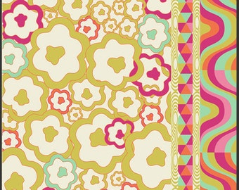 Fat Quarter of Carnaby Street Psychedelia Gold by Pat Bravo for Art Gallery Fabrics LAST ONE