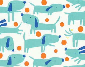 Raining Cats & Dogs Fetch Aqua by David Walker for Free Spirit