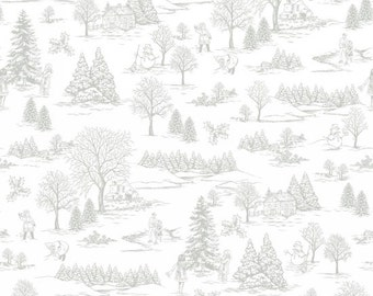 Winter Essentials IV Winter Toile Grey White by Studio E Fabrics