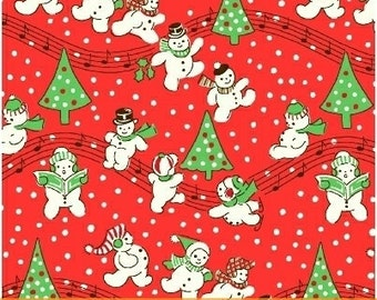 Storybook Christmas Red Singing Snowmen 41752-3 by Whistler Studios for Windham Fabrics