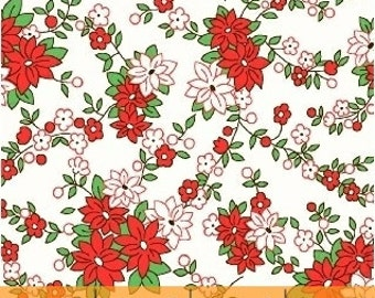 Storybook Christmas White Poinsettias 41749-1 by Whistler Studios for Windham Fabrics