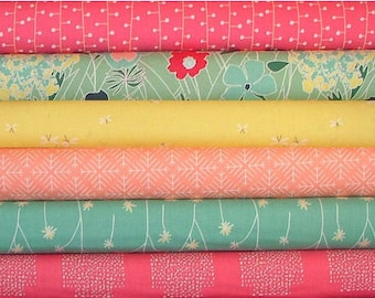 Curiosities Green, Pink and Yellow Fat Quarter Bundle of 6 by Jeni Baker for Art Gallery Fabrics LAST ONE
