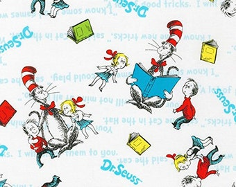 Cat in the Hat White Scenic Characters with Blue Words ADE-72586-1 by Dr. Seuss Enterprises for Robert Kaufman
