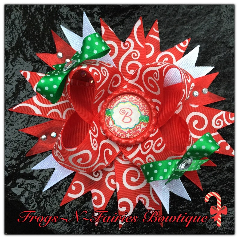 a1b21e8494a Christmas Swirl Damask Personalized Initial Boutique Hairbow