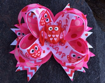 Valentine Owl Hoo Do U Love Boutique Resin Hairbow