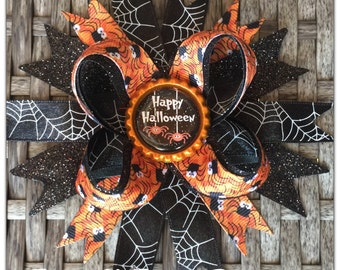 Happy Halloween Spiders Boutique Hairbow