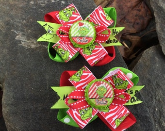 Grinch Personalized Name Piggy Set Hairbows