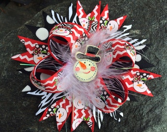 Christmas Swanky Zebra Snowman Boutique Bottlecap Hairbow