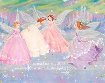 Limited Edition ACEO- Winter Fairy Ball- whimsical fairy fantasy illustration card