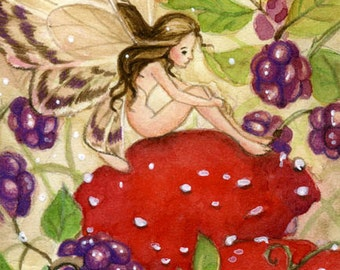 "Limited Edition ACEO ""Blackberry Fae"", watercolour fairy, fantasy illustration"