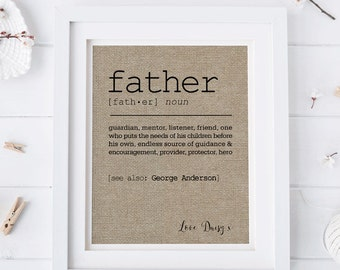 Definition of Father Fabric Print • Gift for Dad • Personalized Fathers Day Gift for Dad • Personalized Fabric Print • Dictionary Definition
