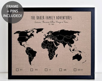 Large world wall map political wood frame teak framed map of the family adventures world pushpin map personalised world pinboard map travel gift wedding gift gumiabroncs