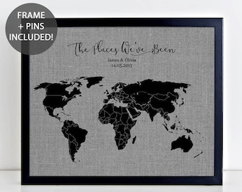 World map fabric etsy the places weve been pushpin map framed fabric map including pushpins personalised gumiabroncs Images