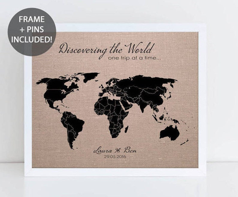 Discovering The World Pushpin Map Personalised World | Etsy on