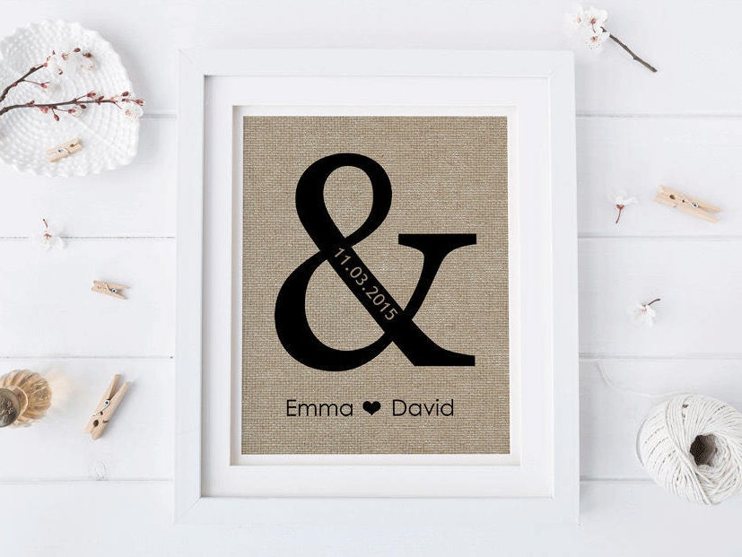 Wedding Gift For Your Wife: Personalized Wedding Gift With Ampersand Gift For Wife