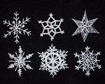 crochet Christmas ornaments//white//large//glitter glue