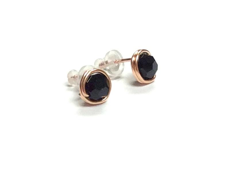 e0e11141f Rose Gold studs earrings or Niobium stud earrings Black Jet | Etsy