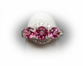 Sterling Silver Man Made Pink Sapphire Engagement Ring