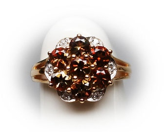 Sterling Silver Citrine Foral Fashion Ring