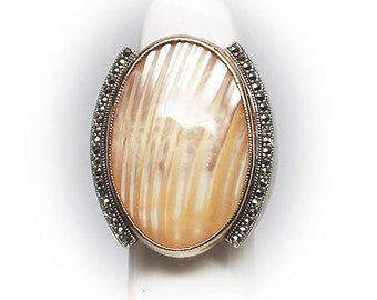 Gorgeous Sterling Silver Shell Diner Ring framed by Marcasie Crystals