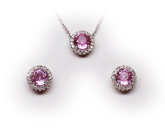 14K Solid Gold Pink Sapphire Stud Earrings, Matching Pendant with Diamond Halo Accents