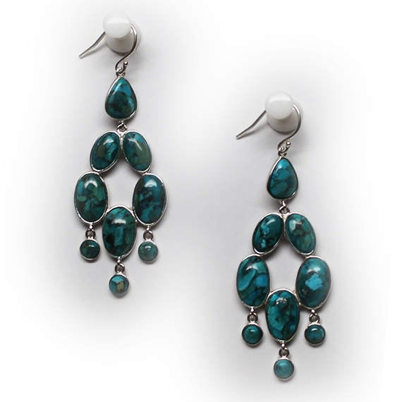 Gorgeous Sterling Silver Turquoise Chandelier Earr