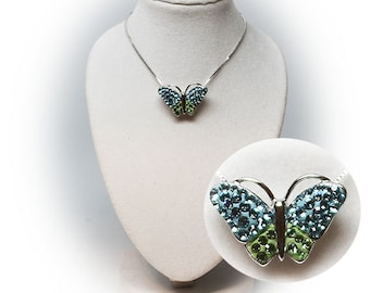 Gorgeous Sterling Silver Gemstone Butterfly Pendant.
