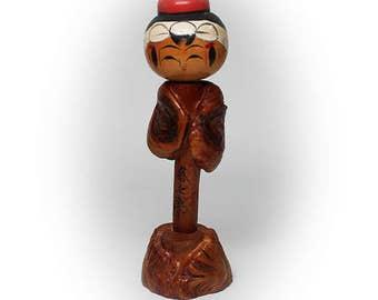 "Charming 7"" Kokeshi Doll with Fashionable Fur Cape"