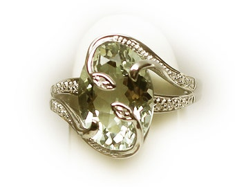 Lovely Sterling Silver Yellow Chrisoberyl Fashion Ring