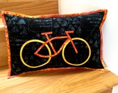 Quilted Pillow, Cycle Art Pillow, Father's Day Gift, Biker Home Decor, Modern Art Quilt, Bicycle Fiber Art, Orange & Black,Hand Quilted Look