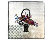 Flower Basket Art Quilt - Floral -  Quilted Wall Hanging - Fiber Art - Birds and Flowers - Mother's Day Gift - Sally Manke Fiber Artist