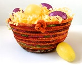 Clothesline Rope, Easter Basket,  Hand Coiled, Fabric Bowl, Warm Color Decor, Sally Manke FIberArt, Large Organizer, Quilted Vibrant Decor