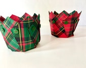 2 Fabric Bowls. Fiber Art Containers, Tiny Organizers, Plaid Gift Bags, Red & Green, Kitchen Storage, Bathroom Decor, Craft Room Containers
