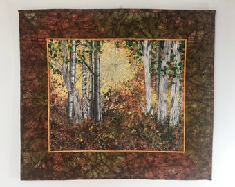 Quilted Wall Hanging, Fiber Art, Woodland Sunrise, Confetti Quilt Landscape, Autumn Birch Tree Decor, Sally Manke, Art Quilts for Sale 23X20