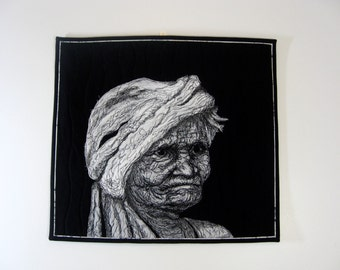 """Quilted Fiber Art  Portrait of """"Guatemalan Poppy""""  Wall Hanging  Art Quilt  Multi Media Decor  Black and White Art Sally Manke wallhanging"""