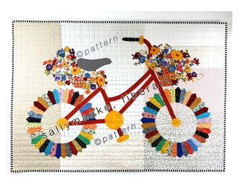 "Whimsical Bicycle Art Quilt Pattern, Original Design Wall Art, Bike Lovers Gift, Quilters Gift, Cyclers Patterns, Sally Manke, 46"" X 35"""