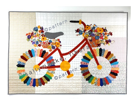 Whimsical Bicycle Art Quilt Pattern Original Design Wall Art