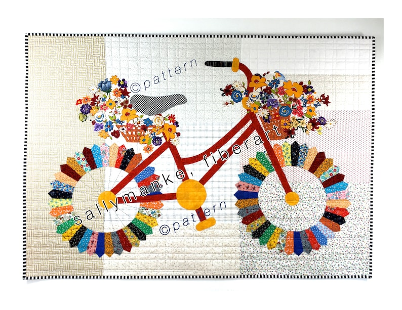 Whimsical Bicycle Art Quilt PATTERN READY to SHIP 46 X 35 image 0