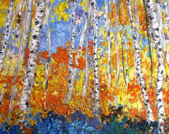 Quilted Wall Hanging  Art Quilt  Birch Trees & Forest Flowers  Original Landscape Wallhanging  Fiber Art by Sally Manke Office Decor  Forest