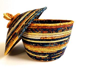 Covered Coiled Rope Basket, Navy and Gold, Lidded Bowl, Quilted Fiber Art, Clothesline Organizer, Storage Basket, Fiber Art, Home Decor
