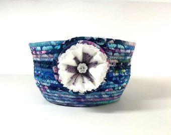 Large Hand Coiled Rope Basket   Clothesline Bowl   Fiber Art Organizer  Batik Fabric  Back Door Catch All  Sally Manke Designer
