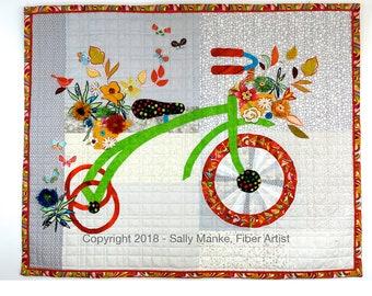 Whimsical Trike Art Quilt, Childrens Cycle, Quilted Wall Hanging, Kids Bike, Fiber Art. Original Design, Childs Room Decor, Sally Manke Art