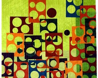 Modern Art Quilt , Window Spots , Quilted Wall Hanging , Vibrant Green , Upbeat Office Decor , Fiber Art , Geometric Art , Sally Manke Fiber