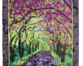 Art Quilt, Spring Stroll, Fabric Wall Hanging, Confetti Art Quilt, NYC Fiber Art, Quilted Landscape, Wall Decor, Central Park, Sally Manke