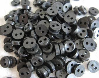 40 Tiny Teeny Buttons for Doll Clothes - Black (5mm/6mm)