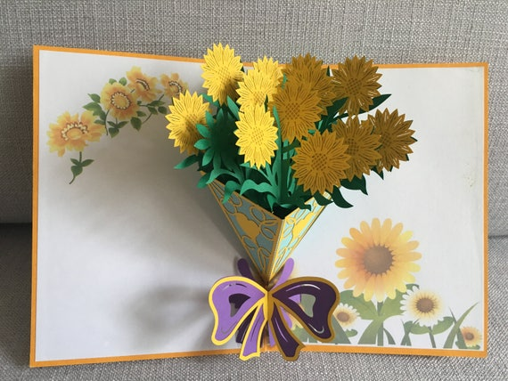 3d flowers pop up greeting card birthday card pop up card etsy m4hsunfo